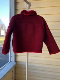 Red Gymboree Fur Leather Jacket - Small Petite