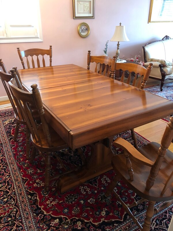 Canadian Made Walnut Dining Room Table And Chairs