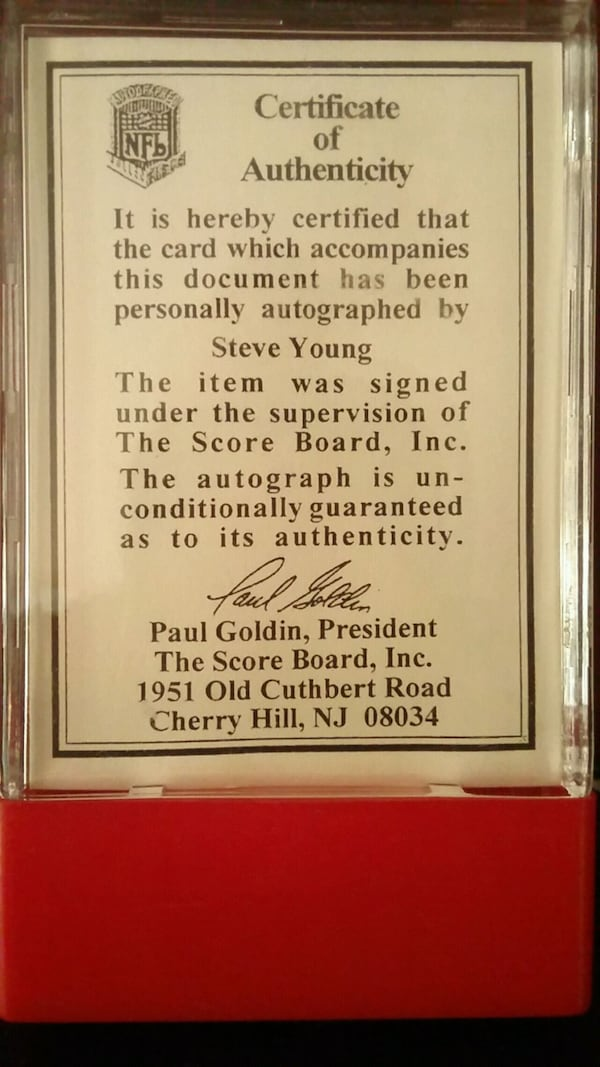 Steve Young signed 1992 card 1