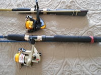 2 Fishing rods and reels,7 footers, new lines spooled MONTREAL