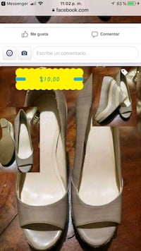 pair of gray leather heeled shoes Santa Ana, 92704