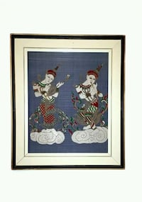 Framed vintage asian art in cloth Toronto, M6M 1T1