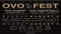 OVO PAIR OF TICKETS FOR SALE. (AUG 4, SECTION 202 ROW R!!!!!!!!! TORONTO