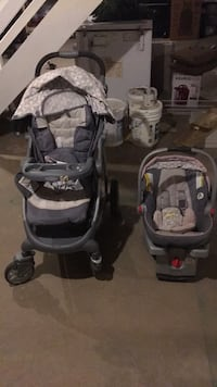 Baby's gray and pink car seat carrier and stroller. A few stains but nothing major York, 17404
