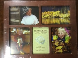 Brown wooden 5-panel photo frame