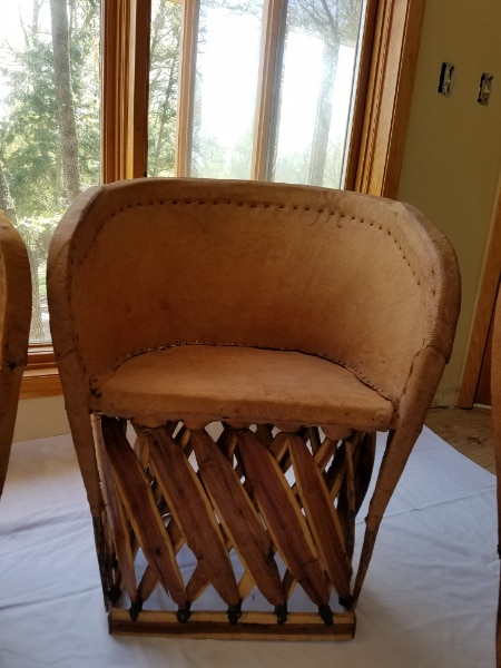 Mexican Equipale Pigskin Leather Barrel Chairs