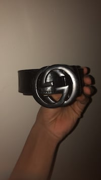 black Gucci leather belt with silver buckle St. Louis, 63113
