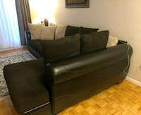 black leather sectional sofa with ottoman Montreal, H4M