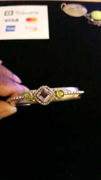 Sterling silver amethyst and emerald