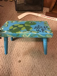 Blue and green wooden stool