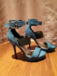 pair of black leather open-toe ankle strap heels Newmarket, L3X 2Y2