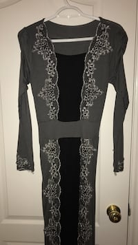 Gray and black scoop-neck long-sleeved dress