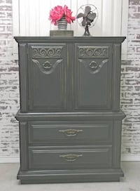 Chest of Drawers Armoire, Distressed Black Cottage Style, Shabby Farmhouse Chic Howell