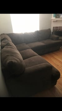 Brown sectional! Comes with a big ottoman too like brand new! Non smoking had dogs. Will deliver for additional 100.  Hampton, 23666