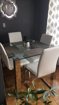 Square glass/chrome table with 4 chairs dining set Toronto, M8Y 4C1