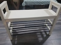 white and black wooden TV stand Vancouver, V5P 2W4