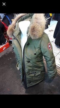 Parka zip-up vert et marron