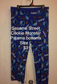 Cookie Monster Pajama Bottoms Size L