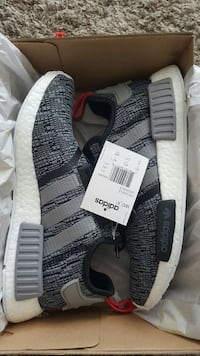 pair of gray-and-white adidas nmd Glitch r1 in box Ontario, M1W 2M6