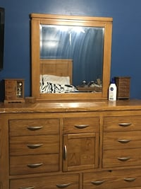 Queen bedroom set head board foot board side rails dresser and one night stand St Thomas, N5P 2H5