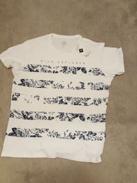 white and black floral stripes t-shirt