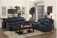 Reclining leather sofa and loveseat  Elgin