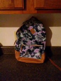 blue and brown floral backpack