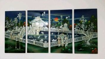 4 Panels Lacquer Mother of Pearl Art