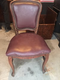 Wooden and brown leather chairs Harvey, 70058