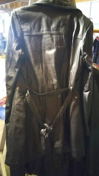 Ladies black leather hip length jacket St. Cloud