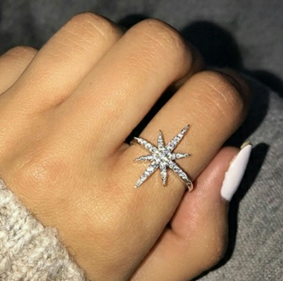 Photo 925 Sterling Silver Star 18K Real Gold Filled Ring