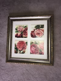 Framed 30 by 28 inches floral painting