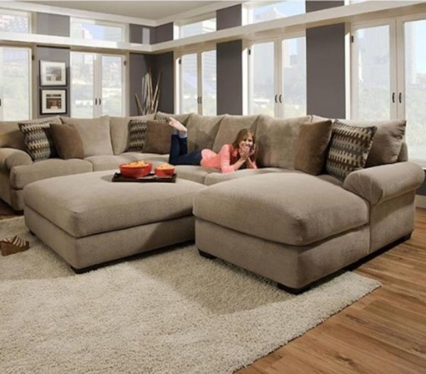 Swell Henderson 3 Piece Sectional Sofa And Ottoman In Bacarat Taupe Ocoug Best Dining Table And Chair Ideas Images Ocougorg