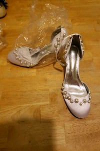 Wome size 7.5 strappy white heels with beeds and New Bedford, 02740