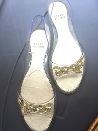 Pair of silver-colored open-toe heels