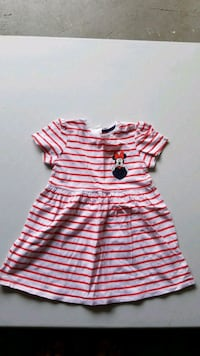 Minnie mouse white and red striped dress