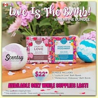 lucky in love and honeymoon hideaway labeled boxes bath bomb Brampton, L6X 2W6