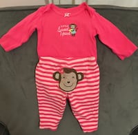 Baby girls 0-3 month outfit, pink with monkey on rear