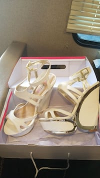 white leather peep-toe d'Orsay ankle-strap wedge sandals with box