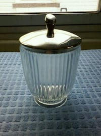 Vintage glass sugar bowl with metal lid Belleville, K8P