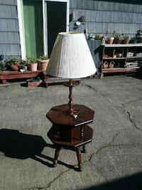 brown wooden base white shade floor lamp Longview, 98632