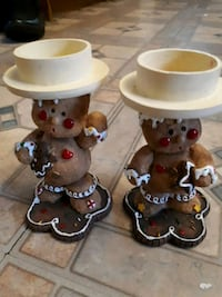 Gingerbread man candle holders.