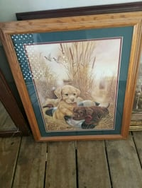 two puppies and redhead ducks painting