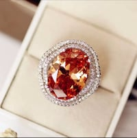 Big Champagne Oval Cubic zirconia Ring 4 Prong Setting Double-layer Micro stone Surround Wave Luxury Women Party Jewelry Mississauga, L5J 2B9