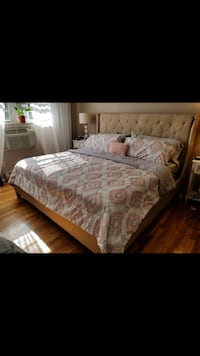 Tan color King size bed with mattress and box spring. Will include two side lamps and one end table Saddle Brook, 07663