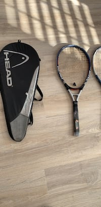 3 tennis rackets with two covers