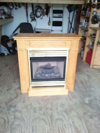 brown and black electric fireplace