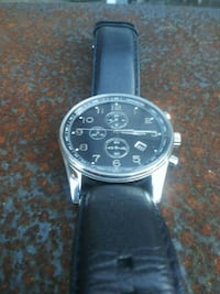 round silver-colored chronograph watch with black leather strap Pensacola, 32534