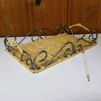 "Medium Serving Tray Iron & Wicker. 9""x14"" Malverne, 11565"
