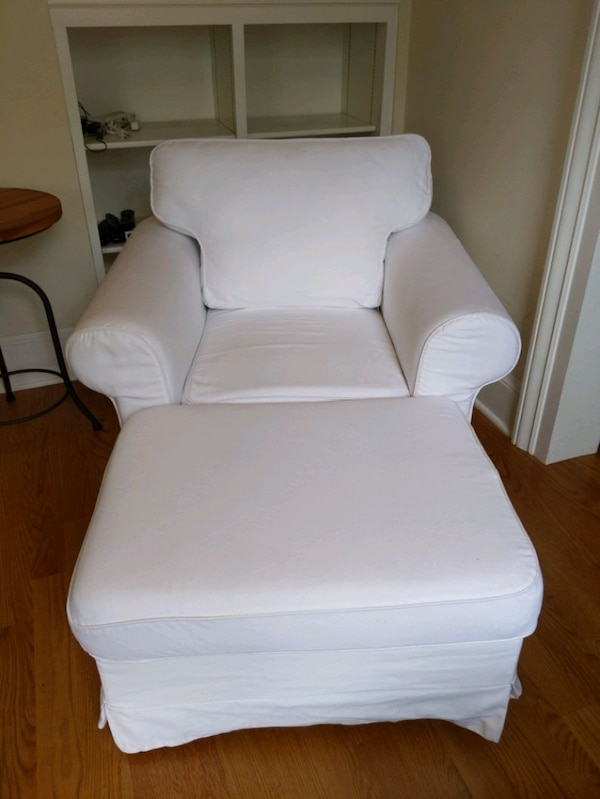 Ikea White Fabric Armchair With Ottoman Usado En Venta San Francisco Letgo